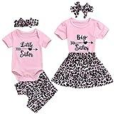 GRNSHTS Baby Girl Sister Matching Clothes Infant Big Sister Short Sleeve Shirt+Leopard Skirt+Headband 3Pcs Outfits (Big Sister, 2-3 Years)