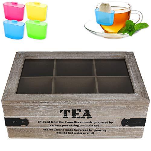 Teekiste 6 Fächer Industrial inkl. Teebeutel-Halter Teebox Tee Teekasten Teedose Teebeutelbox Teebeutelkiste