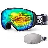 Ski Goggles with Cover Snowboard Goggles OTG Anti-Fog for Men Women - VLT 11.1%