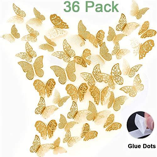 beihuazi® 3D Schmetterlinge Deko wand Wandsticker Aufkleber Wandtattoo für Wohnzimmer, Kinderzimmer, Türen, Fenster, Badezimmer, Kühlschrank(36 Stück,gold)