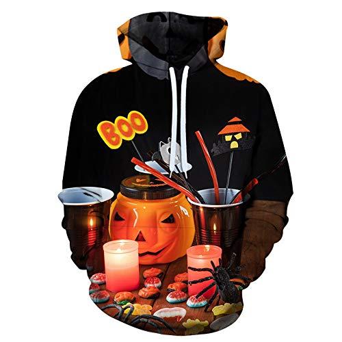 qishi - Suéter con capucha para Halloween y primavera y otoño 3D digital suelto, casual y uniformes de béisbol para hombres y mujeres
