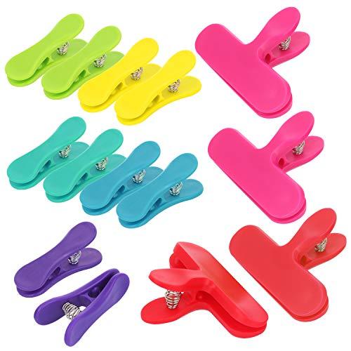 com-four® 14x Verschlussclips für Beutel - Verschlussklemmen aus Kunststoff - Tüten Clips zum Verschließen und Frischhalten (14 Stück - Klemme/bunt)