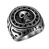 Flongo Anello celtico anello uomo cranio teschio, Anello di sigillo gotico punk rock, Grande anello in acciaio inossidabile anello argento nero, Taglia 24