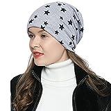 DonDon Damen Slouch Winter Mütze Beanie gefüttert mit Stern Print hellgrau