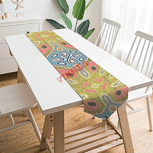 Camino de mesa bufandas, color rojo coral ocre amarillo azul hip adornado arte decoración camino de mesa para el hogar, cocina, cena, boda, eventos, decoración - 33 x 70 pulgadas