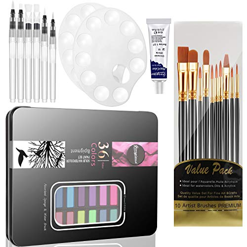71 Pieces Watercolor Paint Set, Includes Watercolor Paint, Painting Palettes, Refillable Water Pen Brush, Fine Tip Paint Brush Set for Artist Painting Supplies