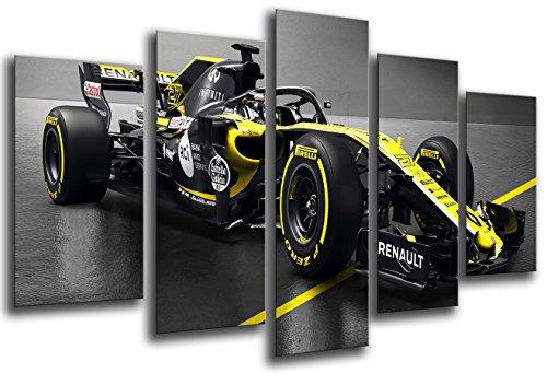 Cuadro Fotográfico Formula 1 Coches,Renault r.s.18, Renault F12018, Carlos Sainz, Nico Hulkenberg Tamaño total: 165 x 62 cm XXL