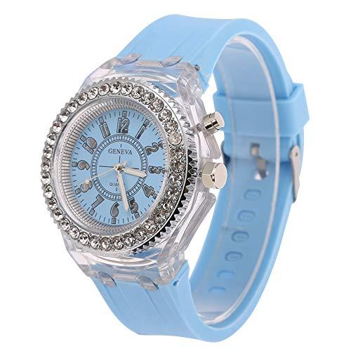 GJHBFUK Reloj Niño Relojes para Niños Relojes para Hombres Y Mujeres con Diamantes De Imitación Relojes Redondos De Cuarzo con Retroiluminación LED Relojes con Correa De Silicona (Azul Claro)