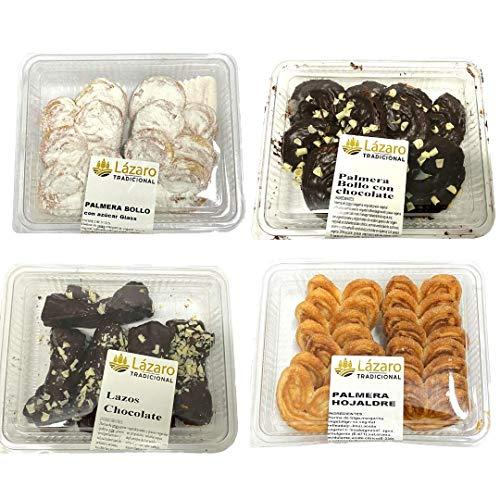 Lázaro Pack Surtido De Hojaldres 1150G, (300G Palmeras Bollo ), (250G Palmeras De Hojaldre), (300G Lazos ), Chocolate, 1250 Gramo