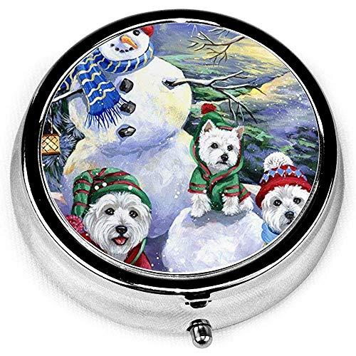 Pupazzo di neve natalizio cane West Highland Terrier Novità scatola rotonda pillola tasca tasca medicina organizzatore supporto organizzatore per borsa regalo