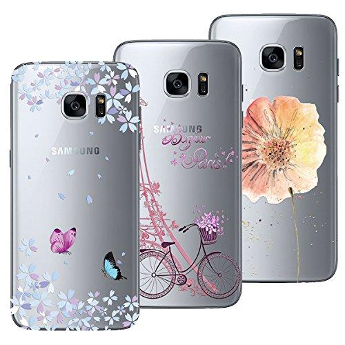 Yokata Kompatibel mit Samsung Galaxy S7 Hülle Silikon Transparent Durchsichtig Handyhülle Schutzhülle TPU Dünn Slim Kratzfest mit Motiv Muster [3 Pack] - Turm Fahrrad + Blumen Schmetterlinge + Blumen