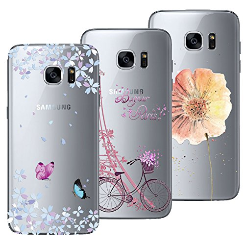 Yokata Funda para Samsung Galaxy S7, [3 Packs] Carcasa Transparente Ultra Suave Silicona TPU Case con Dibujo Anti-Arañazos Caso Cover - Torre y Bicicleta + Flores y Mariposas + Flores