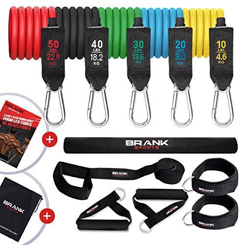 Set di fasce elastiche fitness con maniglie | Attrezzi palestra multifunzione da 5 a 70 kg di resistenza | Kit palestra in casa con 13 accessori | E-book di allenamento gratuito da scaricare