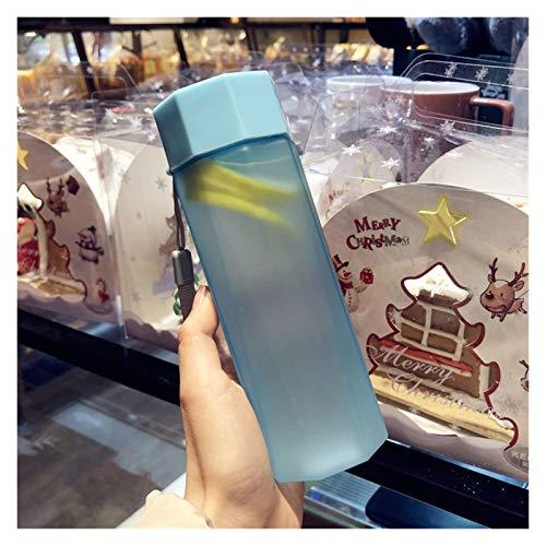 Taza para beber Botella de agua plástica portátil Copa de agua mate creativa Juice al aire libre Botella de deportes a prueba de fugas con botellas de camping de viaje de cuerda ( Color : Matte Blue )