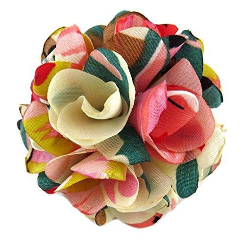Les Trésors De Lily [Q0120] - Elastique/Chouchou créateur 'Liberty' rose multicolore - 50 mm