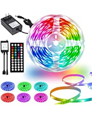 LED Strip Lights 50ft, Ultra Long LED Lights Strip for Bedroom, SMD 5050 RGB LED Strips with 44 Key IR Remote, Color Changing Strip Light with 24V Power Supply for Room Home Kitchen Party Decoration