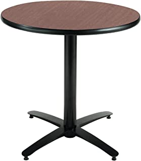 KFI Seating Round Pedestal Table with Arched X Base, Commercial Grade, 30-Inch, Dark Mahogany Laminate, Made in the USA