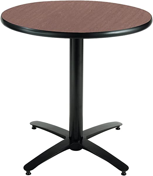 KFI Seating Round Pedestal Table With Arched X Base Commercial Grade 30 Inch Dark Mahogany Laminate Made In The USA