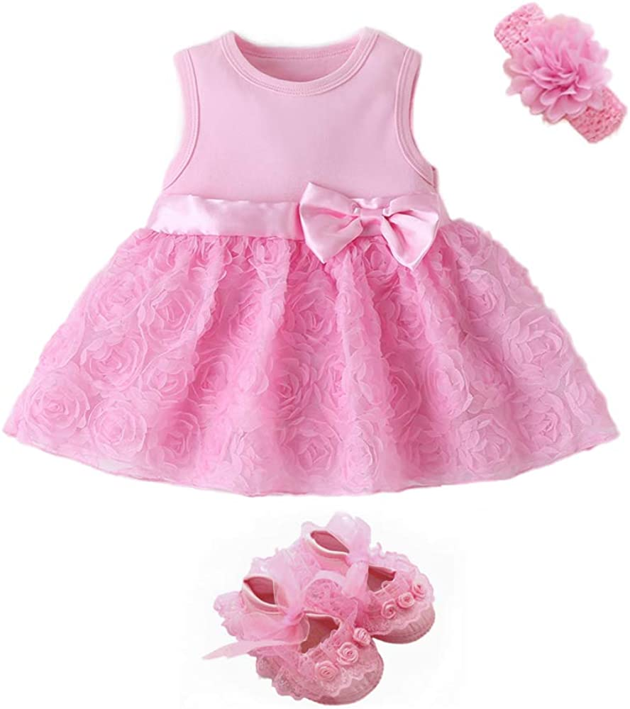 foohinck Newborn Baby Girl Dress Bowknot Flo Clothes Deluxe Romper Sets Popular brand
