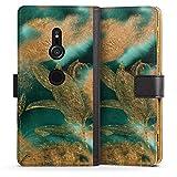 DeinDesign Étui Compatible avec Sony Xperia XZ2 Étui Folio Étui magnétique Feuilles Motifs Or