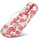 Hotmarzz - Pantofole estive da spiaggia, con fiori e frutti, Bianco (Melograno bianco.), 4...