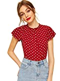WDIRARA Women's Polka Dots Butterfly Sleeve Frill Trim Pleated Neck Blouses Red S
