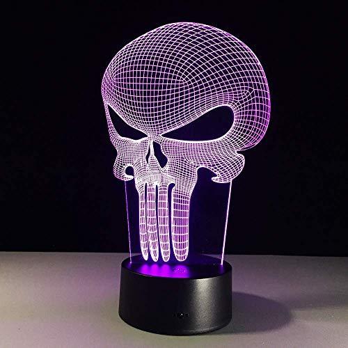 Punisher Skull Mehrfarbige 3D Led Nachtlicht 7 Farbwechsellampe Bulbing Light Acryl Hologramm Illusion Schreibtischlampe Für Kinder