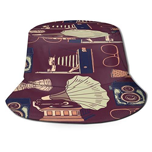 Sombrero de Pescador Unisex Cámara de Fotos Retro Tocadiscos Gafas Plegable De Sol/UV Gorra Protección para Playa Viaje Senderismo Camping