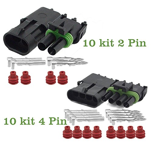 OxoxO Waterdichte elektrische kabelverbinder, 20-14 AWG, voor motorfiets, scooter, auto, vrachtwagen, quad, driewieler, caravan, jetski, boten enz. 2+4