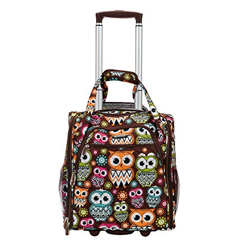 Rockland Melrose Upright Wheeled Underseater Carry-On Luggage, Owl