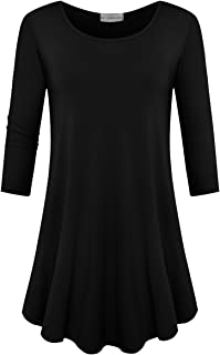 JollieLovin Womens 3/4 Sleeve Loose Fit Swing Tunic Tops Basic T Shirt
