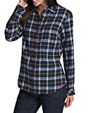 Dickies Women's Long-Sleeve Flannel Shirt, Opaque White/Blue Flame Plaid, XL