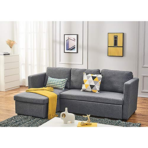 Linen Fabric Sectional Sleeper Sofa Couch with Pull Out Bed, L Shaped Modern Sectional Sofa Bed with Chaise Lounge and Storage Function for Living Room (Light Gray)