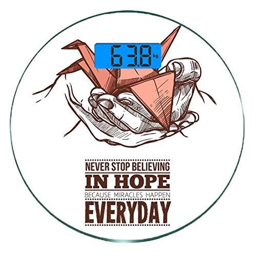 Digitale Präzisionswaage für das Körpergewicht Runde Hoffen Ultra dünne ausgeglichenes Glas-Badezimmerwaage-genaue Gewichts-Maße,Hände halten einen Origami-Kranich mit einem Wunder passieren jeden Tag