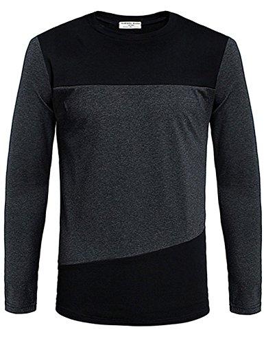 MrWonder Men's Slim Fit Contrast Color Stitching Crew Neck Long Sleeve Basic T-shirt Top Black XL
