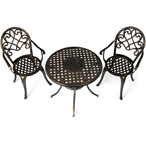 Heize Best Price Antique Bronze Color Set of 3 pcs Outdoor Set Cast Aluminum Patio Bistro w/Attached Removable Ice Bucket Chair Seat Yard(U.S. Stock)
