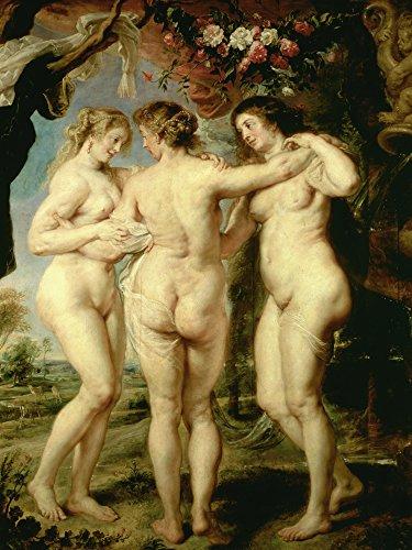Artland Alte Meister Premium Wandbild Peter Paul Rubens Bilder Poster 80 x 60 cm Die DREI Grazien...