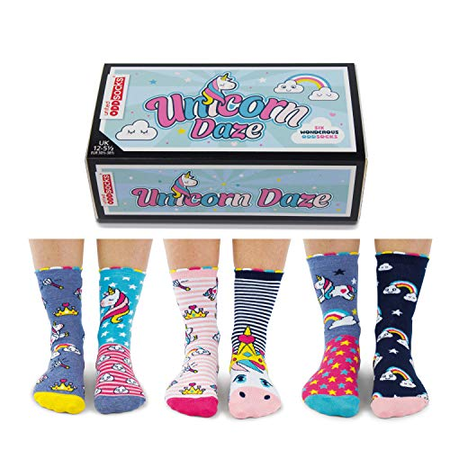 trendaffe Einhorn und Regenbogen Oddsocks Socken in 30,5-38,5 im 6er Set - Unicorn Daze Oddsocks Strumpf