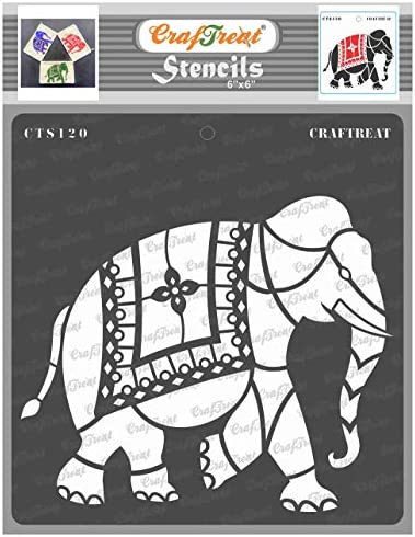 CrafTreat Indian Elephant Stencils for Painting on Wood Wall Tile Canvas Paper Fabric and Floor product image