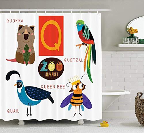 Yeuss ABC Kids Duschvorhang,Studie Q Zeichen mit Natur Leben Bienenkönigin Quetzal Quokka Wachtel Haustier Illustration,Stoff Bad Dekor Set mit Haken,Multicolor