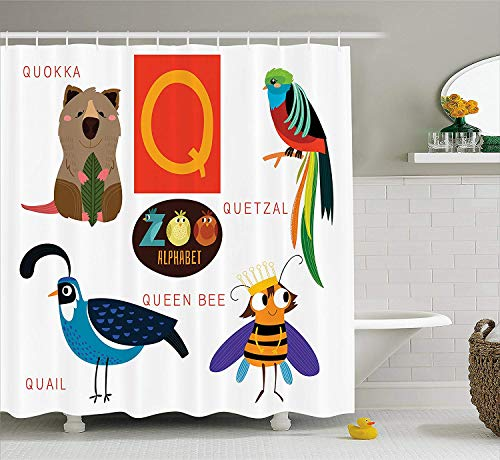 Yeuss ABC Kids Duschvorhang,Studie Q Zeichen mit Natur Leben Bienenkönigin Quetzal Quokka Wachtel Haustier Illustration,Stoff Bad Dekor Set mit Haken,Multicolor