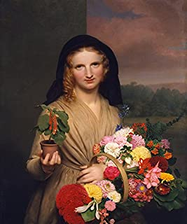 The Flower Girl with BOUGUET of Flowers and Potted Fuchsia 1846 Painting by Charles Cromwell Ingham 20