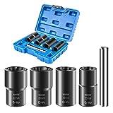 Luckyway 5-Piece Twist Socket Set Lug Nut Remover Extractor Tool Metric Bolt and Lug Nut Extractor Socket Tools