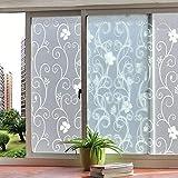 Vidrio Autoadhesivo estático de Flor Blanca Adhesivo de privacidad Opaco Anti-Ultravioleta película de decoración del hogar K 30x100cm