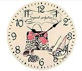 Y&J Reloj De Pared Vintage Reloj De Pared Silencio MDF Arte Reloj Bolso De Cosméticos Cuarzo Decoracion Pared para Hogar Salon Oficina Comedor Habitación