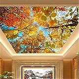 Benutzerdefinierte Fototapete 3D Herbstlaub Natur Landschaft Sonne Hintergrund Tapete Decke Gemälde 3D Papel De Parede 400Cm×280Cm
