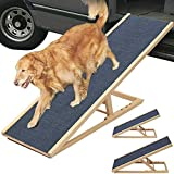 Solid Wooden Pet Ramp Car Dog Ladder - 2-Height Adjustable with Non-slip Carpet Safety Pets Ladder - Wooden Dog Ramp Pet Puppy Surface Access Stair - Max Load 150kg (L70cm x W35cm, H30/40cm)