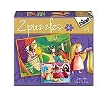 Diset - Puzzle Cuentos clásicos con diseño Rapunzel, 2 x 48 Piezas (69969)