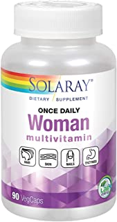 Solaray Once Daily Woman Multivitamin + Iron | Essential Blend for Energy, Immune Function & Digestion | 90ct