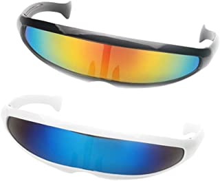 Baosity 2x Futuristic Cyclops Mirrored Sunglasses Novelty Monoblock Glasses Eyewear